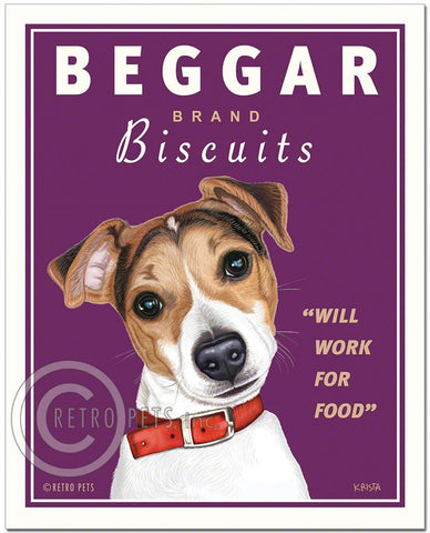 "Jack Russell Art ""Beggar Brand Biscuits"" Art Print by Krista Brooks"