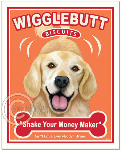 "Golden Retriever Art ""Wigglebutt Golden"" Art Print by Krista Brooks"