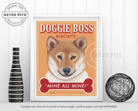 "Shiba Inu Art ""Doggie Boss"" Faux Treat Art Print by Krista Brooks"