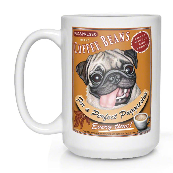 Pug art, pug coffee mug, fawn pug, gift for pug lover
