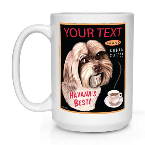 havanese art, coffee mug, custom havanese art, havanese dog, gift for havanese lover