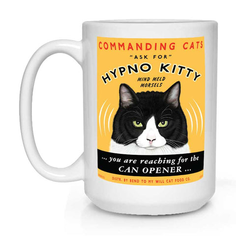 hypno kitty, cat art, cat lover gift, gift for cat lover, coffee mug