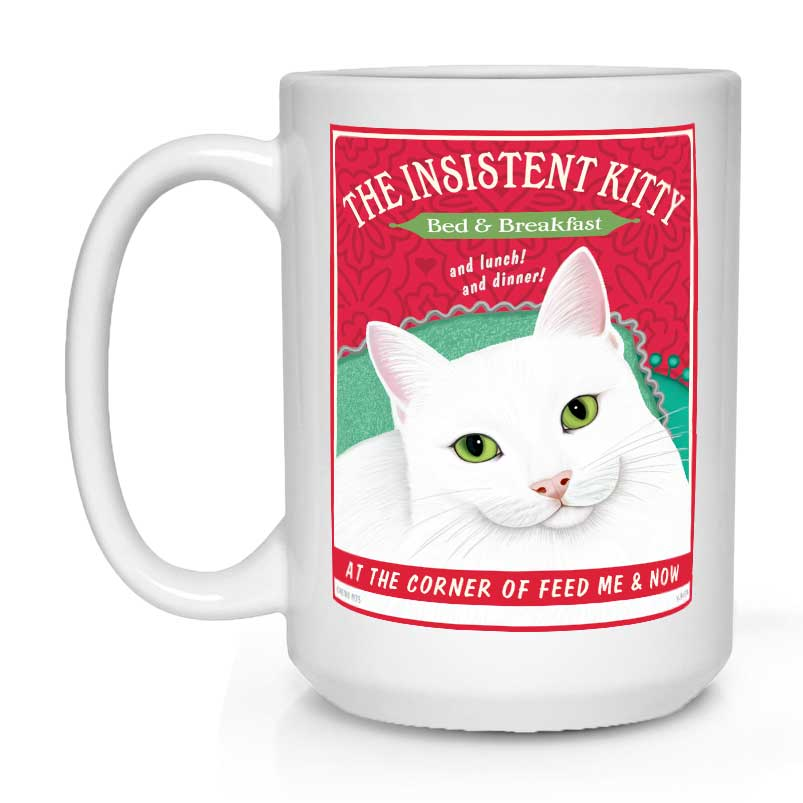 white cat art, insistent kitty, retro pets, gift for cat lover, cat lover gift, coffee mug