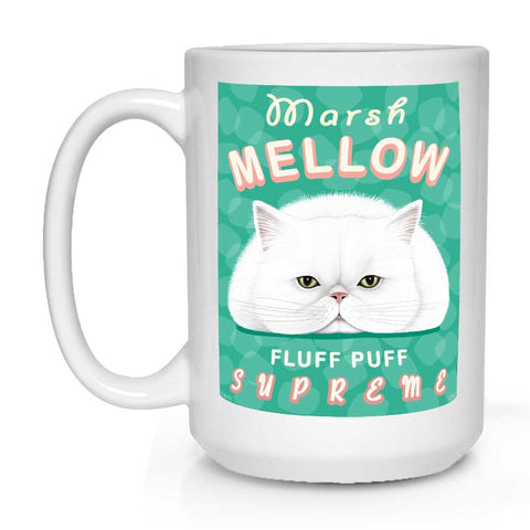 white cat art, persian cat art, marshmallow, cat coffee mug, cat lover gift, gift for cat lover, white persian cat