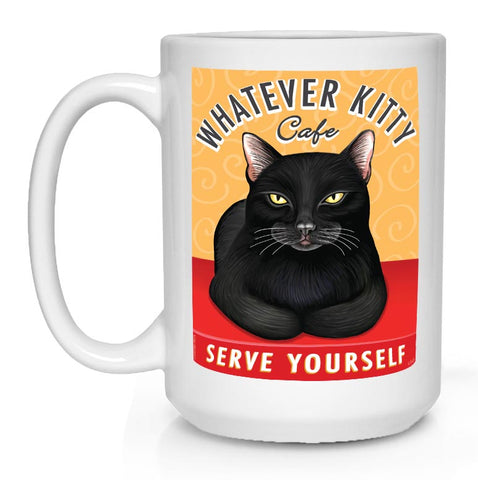 Whatever Kitty Cafe Coffee Mug, black cat art, cat lover gift