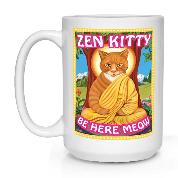 zen kitty, orange cat art, orange tabby, tabby cat art, gift for cat lover, cat lover gift, gift for meditation lover, meditation lover gift, zen coffee mug