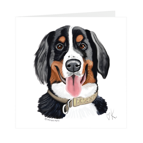 Bernese Mountain Dog, Square Notecards, 5x5, Blank Inside DELETE