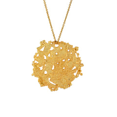 Gold Etched Textured Organic Disk necklace Coin charm pendant