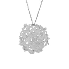 Silver Etched Textured Organic Disk necklace Coin charm pendant