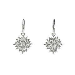 Etched Sacred Star Charm Hoops