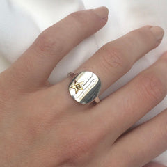 Silver Star Signet Ring
