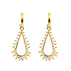 Lotus Petal Charm Hoops Gold