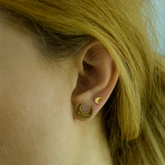 Lucky Crescent Moon Studs