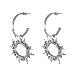 Helios Charm Hoops Silver