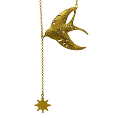 Swallow & Compass Necklace Gold