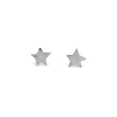 Tiny Etched Star Studs Silver