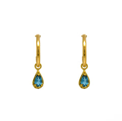 London Blue Topaz Droplet Charm Hoops
