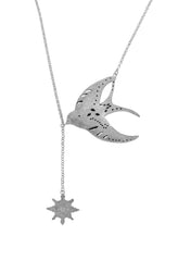 Swallow Soulmate & Compass Necklace Silver