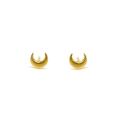 Tiny Crescent Moon Studs
