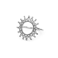 Aphrodite Ring Silver, silver circular fretwork lattice mandala ring