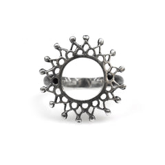 Aphrodite Ring Oxidised Silver, silver circular fretwork lattice mandala ring
