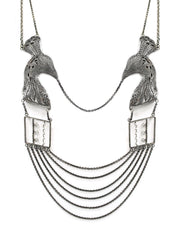 Oriental Peacock Pageant Necklace Silver