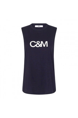 C&M - Classic Muscle Tank - Navy & White