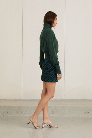 Bec & Bridge - Discotheque Skirt - Emerald Zebra