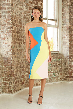 By Johnny - Multi Splice Strapless Dress - Blue Orange Yellow