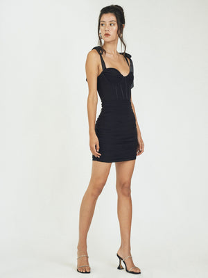 LUXOR MESH MINIDRESS - BLACK