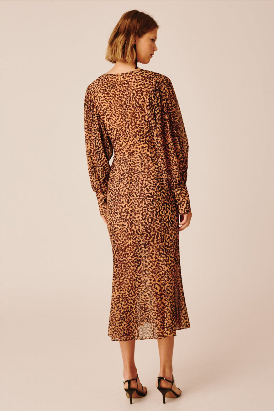 C/meo Collective - Apparent Long Sleeve Dress - Mustard Painted Spot