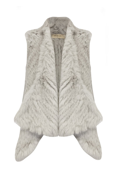 Arielle - Long Collar Vest - Light Grey