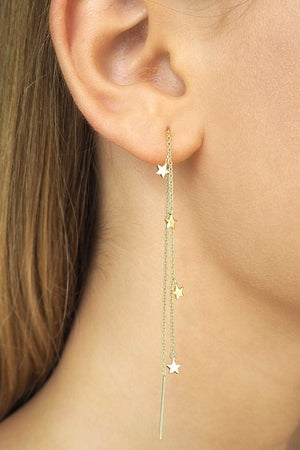 By Charlotte - Gold Star Bright Thread Earrings