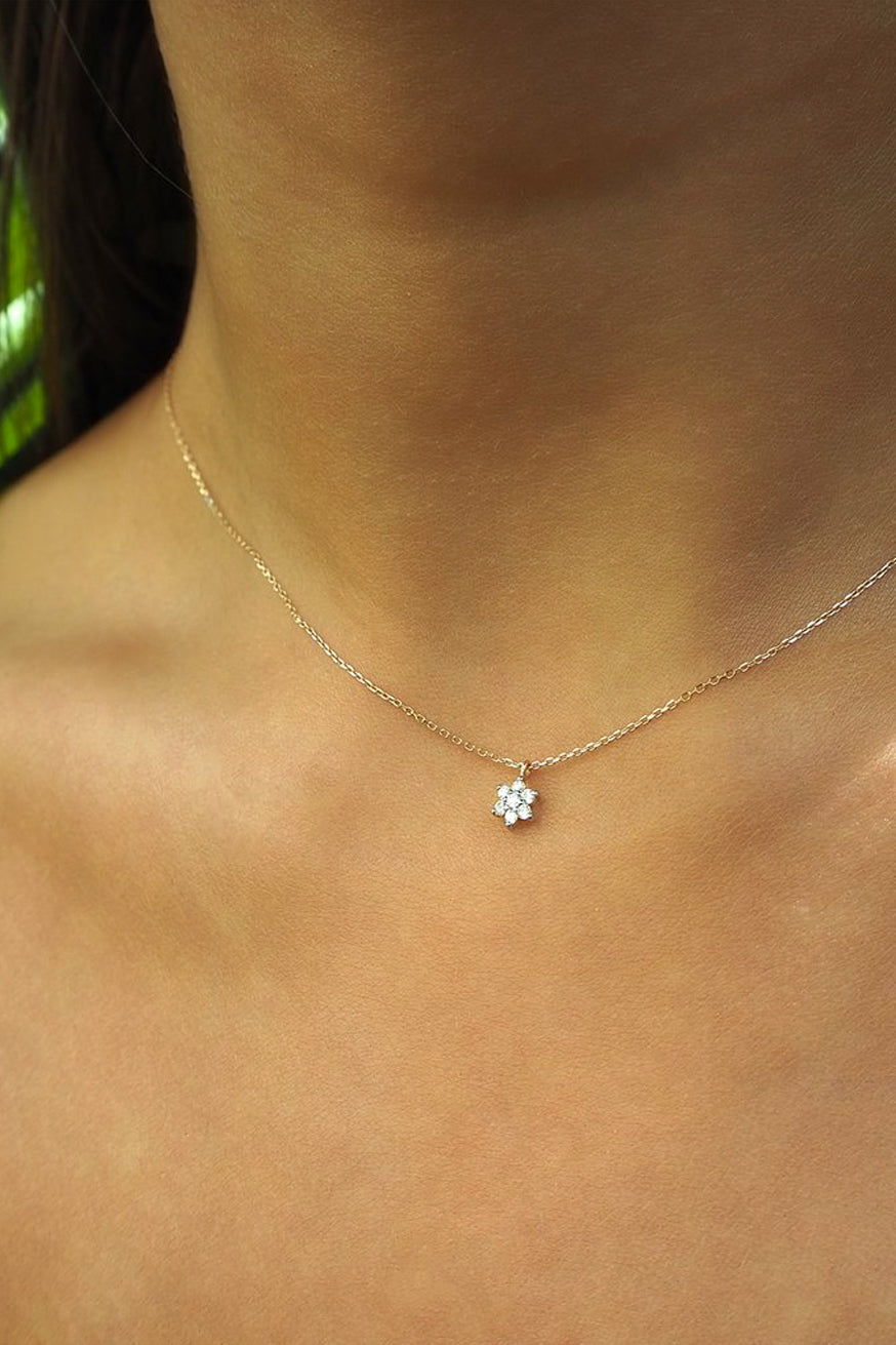 By Charlotte - 14k Gold Crystal Lotus Flower Necklace