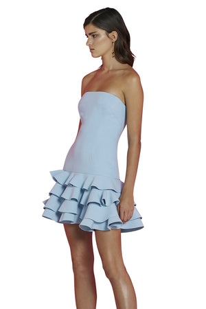 By Johnny - Calla Strapless Frill Mini Dress - Ice Blue