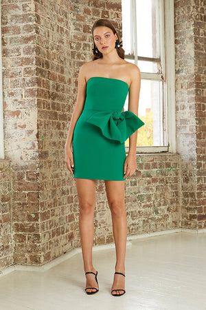 By Johnny - Bow Tie Mini Dress - Forest Green