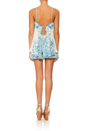 Camilla - Flared Playsuit With Overlay - Head In The Clouds