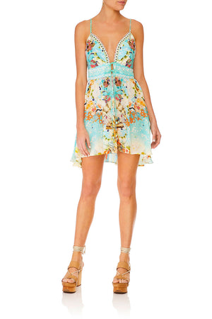 Camilla - Tie Front Mini Dress - Retro's Rainbow