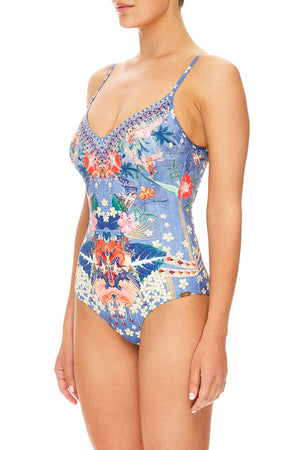 Camilla - V-Neck One Piece W/ Tucks - Faraway Florals