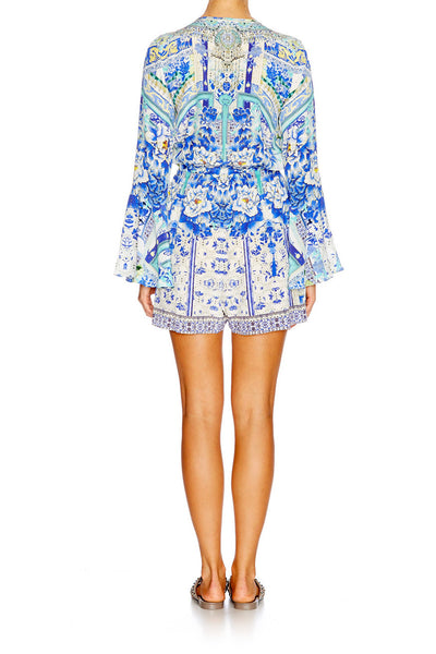 Camilla - Wide Sleeve Tie Front Playsuit - Porcelain Paradise