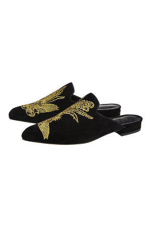 Camilla - Pointed Toe Slipper - Black