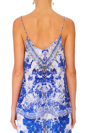 Camilla - Strap Top W/ Sheer Underlay - The Fan Sea