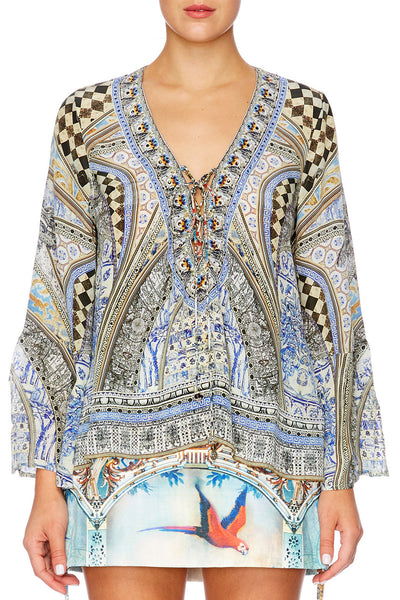 Camilla - Tie Front Blouse - Lost In A Dream