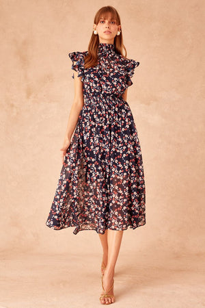 Keepsake - Charmed Midi Dress - Navy Versailles