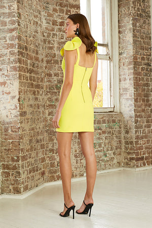 By Johnny - V Plunge Bow Shoulder Mini Dress - Citrus Yellow