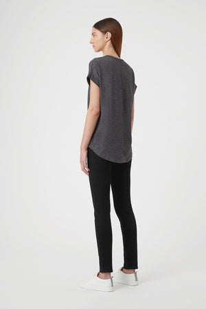 C&M - Black Logo Roll Sleeve Top - Charcoal Marle