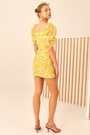 C/meo Collective - Love Hate Mini Dress - Yellow Floral