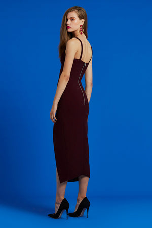 By Johnny - Contour Lines Split Midi Dress - Plum