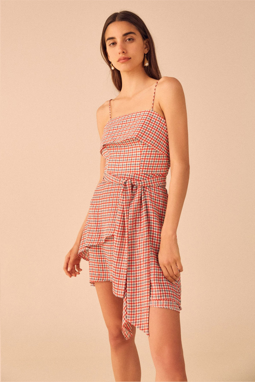C/meo Collective - Counting All Mini Dress - Cherry Check