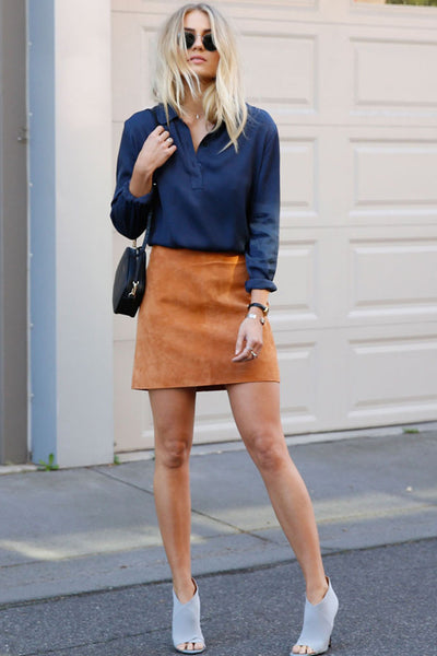 Ena Pelly - Suede Mini Skirt - Tan